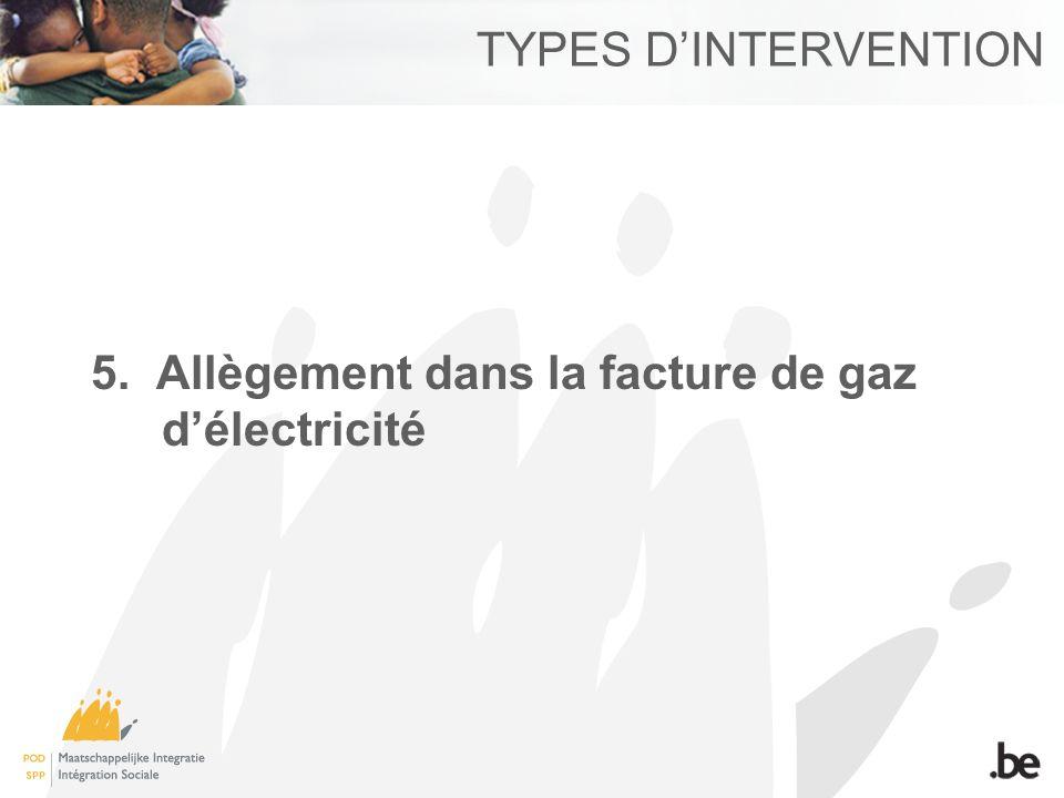 TYPES DINTERVENTION 5. Allègement dans la facture de gaz délectricité