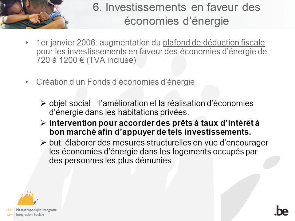 1er janvier 2006: augmentation du plafond de déduction fiscale pour les investissements en faveur des économies dénergie de 720 à 1200 (TVA incluse) C