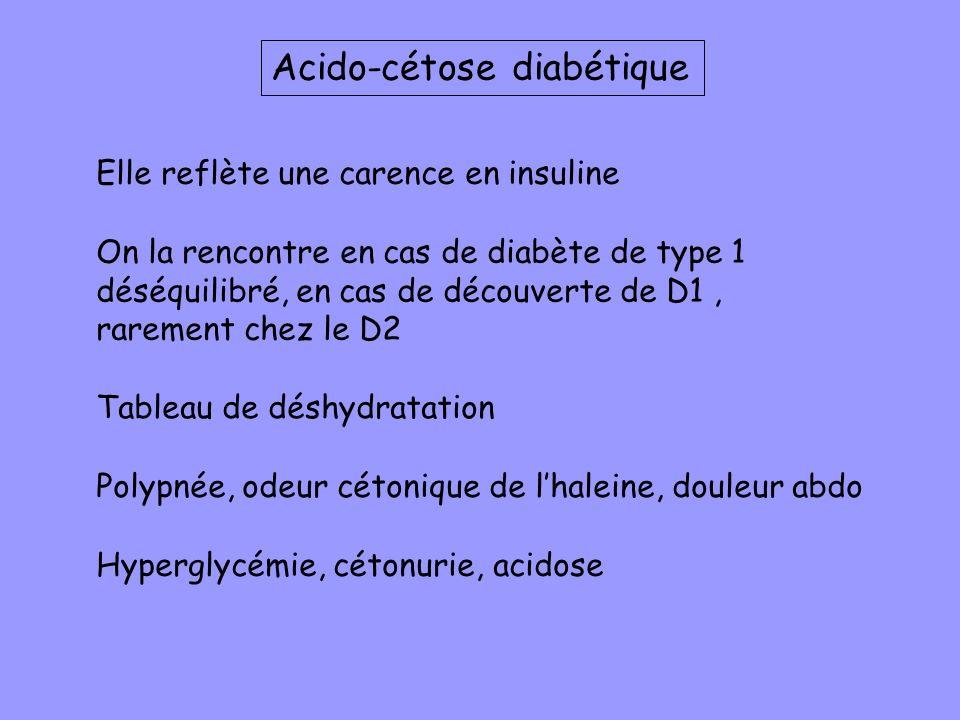 Acido-cétose diabétique Elle reflète une carence en insuline On la rencontre en cas de diabète de type 1 déséquilibré, en cas de découverte de D1, rar