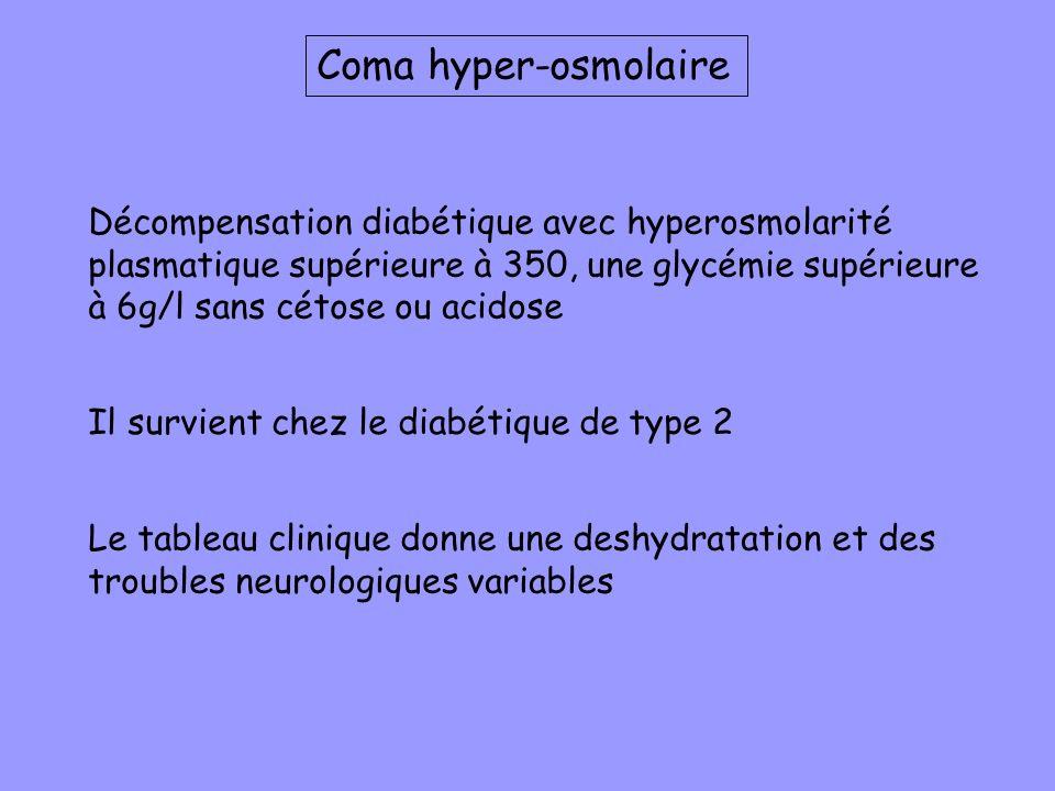 Coma hyper-osmolaire Décompensation diabétique avec hyperosmolarité plasmatique supérieure à 350, une glycémie supérieure à 6g/l sans cétose ou acidos
