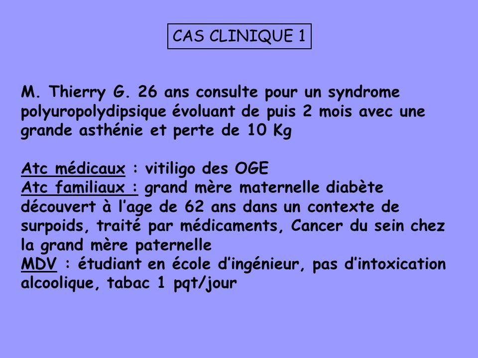M. Thierry G. 26 ans consulte pour un syndrome polyuropolydipsique évoluant de puis 2 mois avec une grande asthénie et perte de 10 Kg Atc médicaux : v