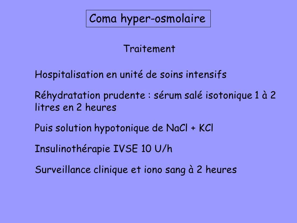 Traitement Hospitalisation en unité de soins intensifs Réhydratation prudente : sérum salé isotonique 1 à 2 litres en 2 heures Puis solution hypotoniq