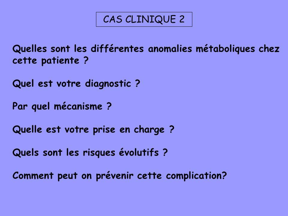 CAS CLINIQUE 2 Quelles sont les différentes anomalies métaboliques chez cette patiente ? Quel est votre diagnostic ? Par quel mécanisme ? Quelle est v