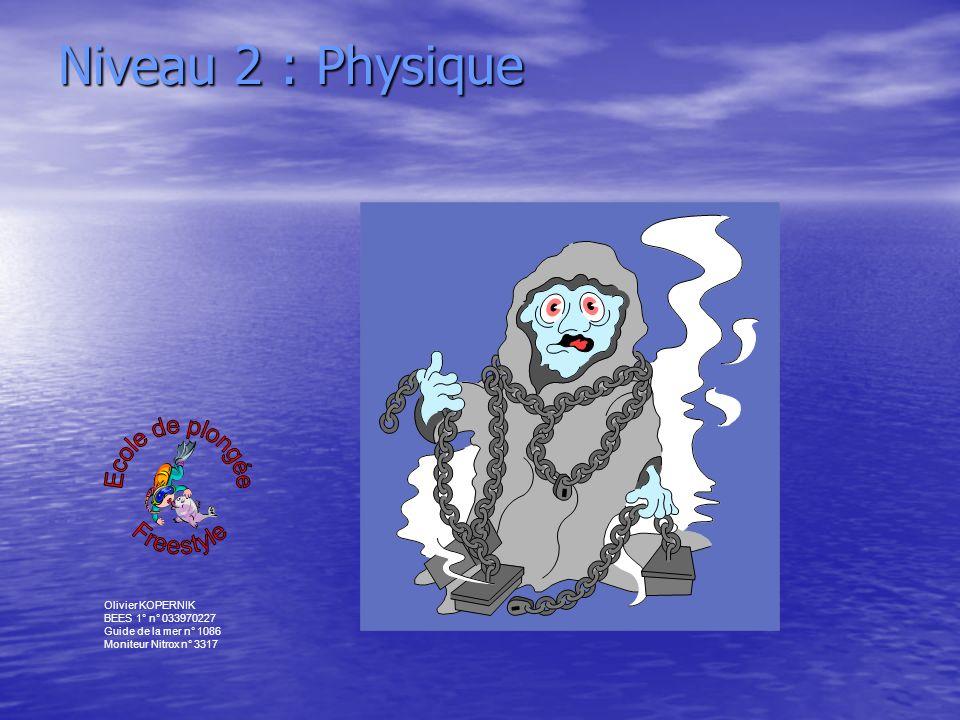 Olivier KOPERNIK BEES 1° n° 033970227 Guide de la mer n° 1086 Moniteur Nitrox n° 3317 Niveau 2 : Physique