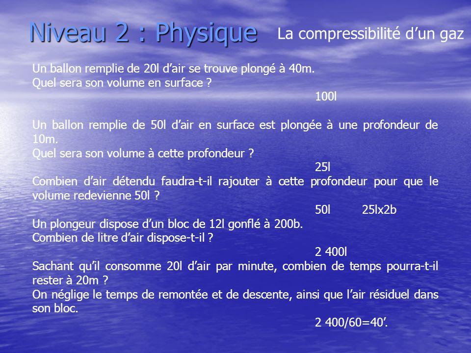 Niveau 2 : Physique Un ballon remplie de 20l dair se trouve plongé à 40m. Quel sera son volume en surface ? 100l Un ballon remplie de 50l dair en surf