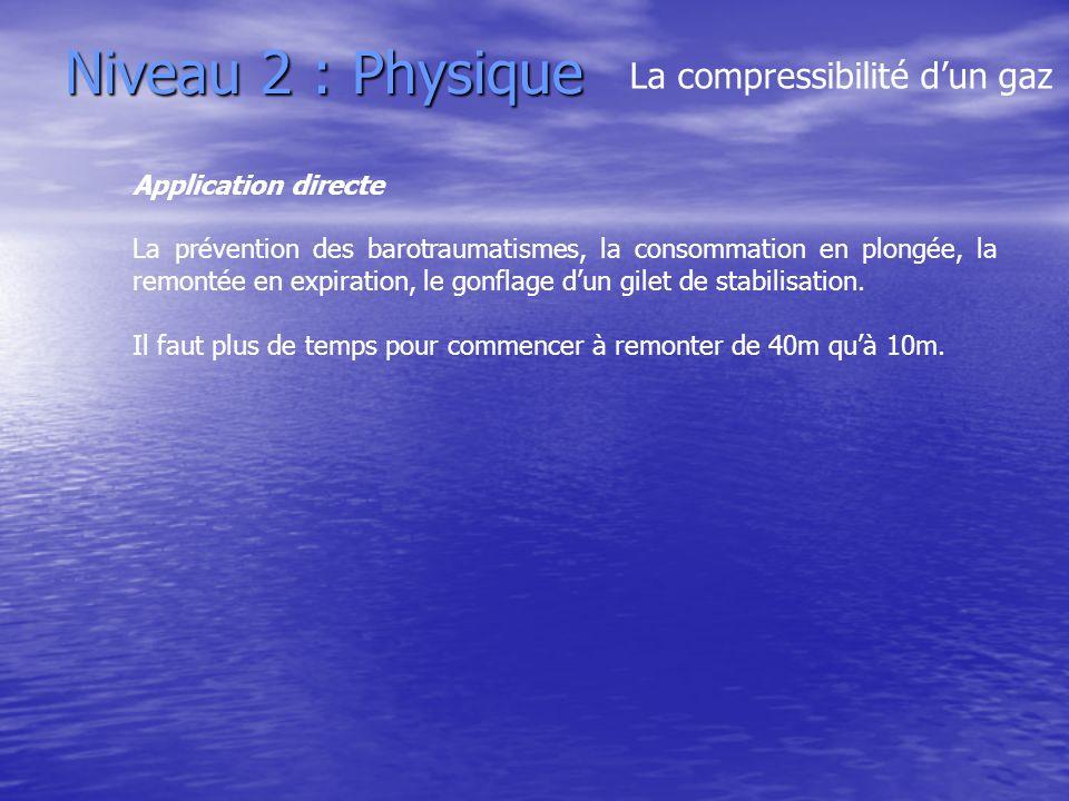 Niveau 2 : Physique Application directe La prévention des barotraumatismes, la consommation en plongée, la remontée en expiration, le gonflage dun gil
