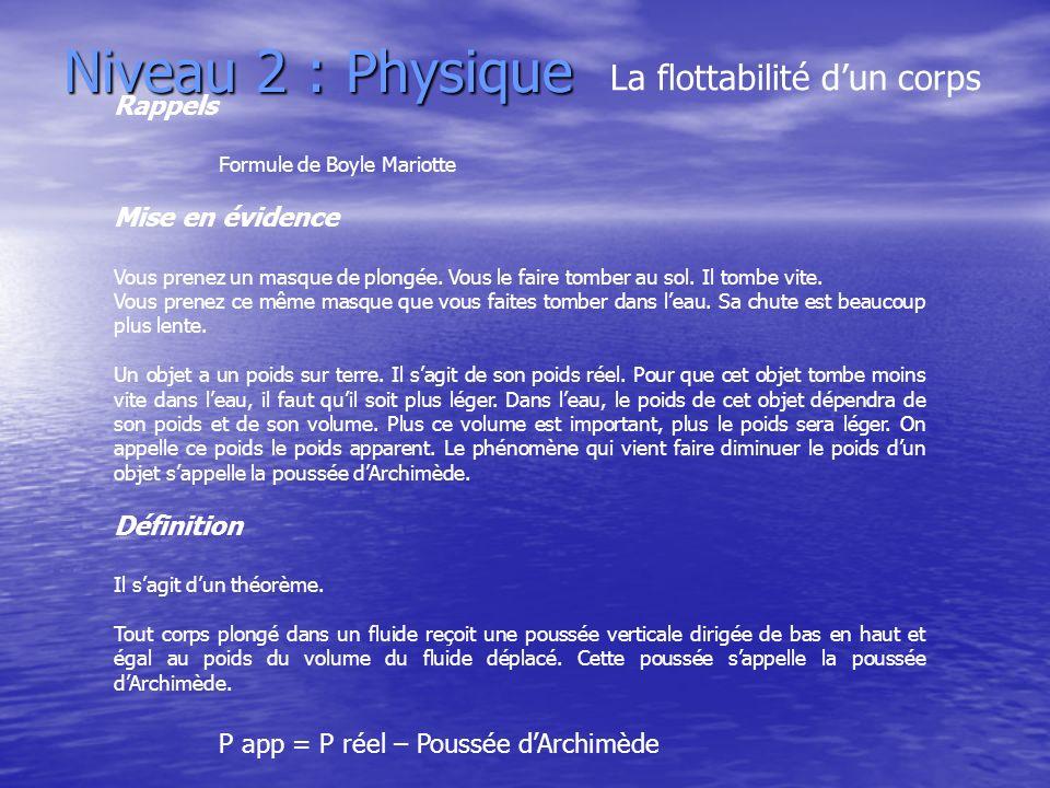 Niveau 2 : Physique La flottabilité dun corps Rappels Formule de Boyle Mariotte Mise en évidence Vous prenez un masque de plongée. Vous le faire tombe