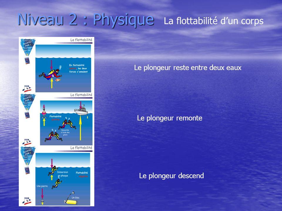 Niveau 2 : Physique La flottabilité dun corps Le plongeur reste entre deux eaux Le plongeur remonte Le plongeur descend