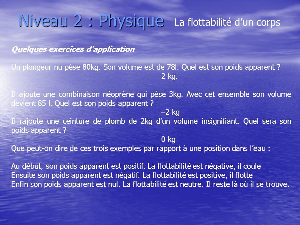 Niveau 2 : Physique La flottabilité dun corps Quelques exercices dapplication Un plongeur nu pèse 80kg. Son volume est de 78l. Quel est son poids appa