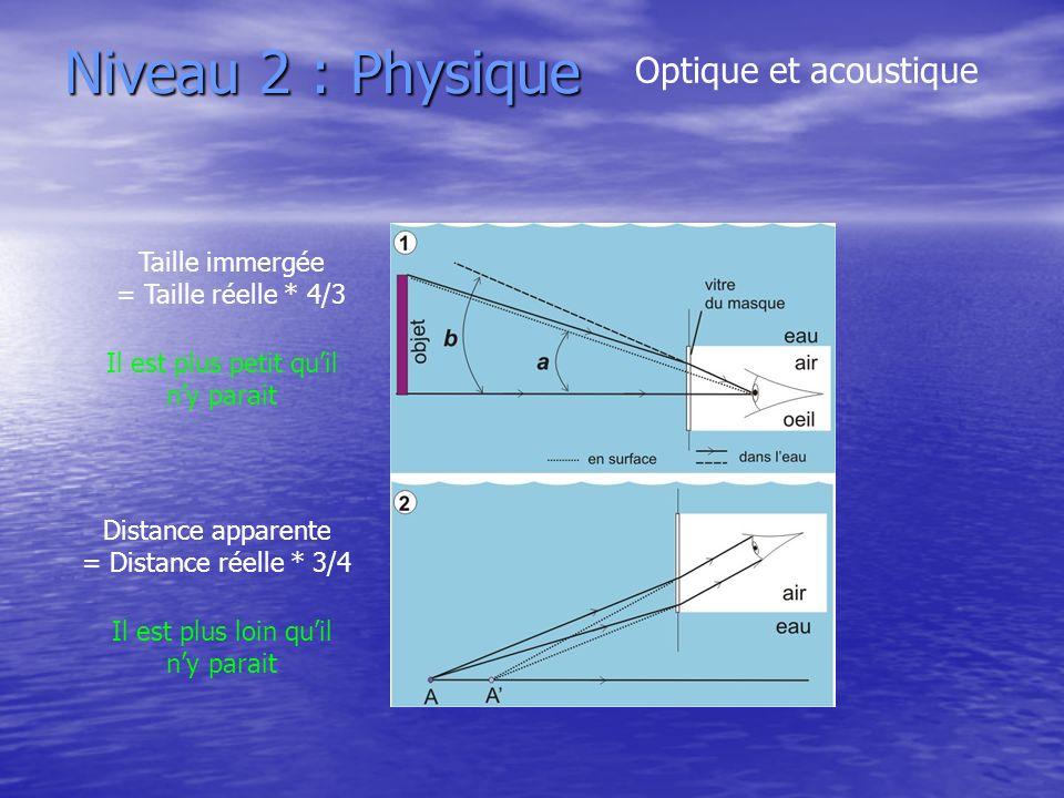 Niveau 2 : Physique Optique et acoustique Taille immergée = Taille réelle * 4/3 Distance apparente = Distance réelle * 3/4 Il est plus petit quil ny p