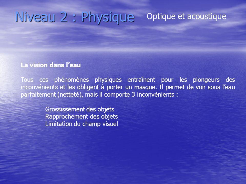 Niveau 2 : Physique Optique et acoustique La vision dans leau Tous ces phénomènes physiques entraînent pour les plongeurs des inconvénients et les obl