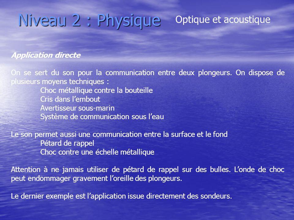 Niveau 2 : Physique Optique et acoustique Application directe On se sert du son pour la communication entre deux plongeurs. On dispose de plusieurs mo
