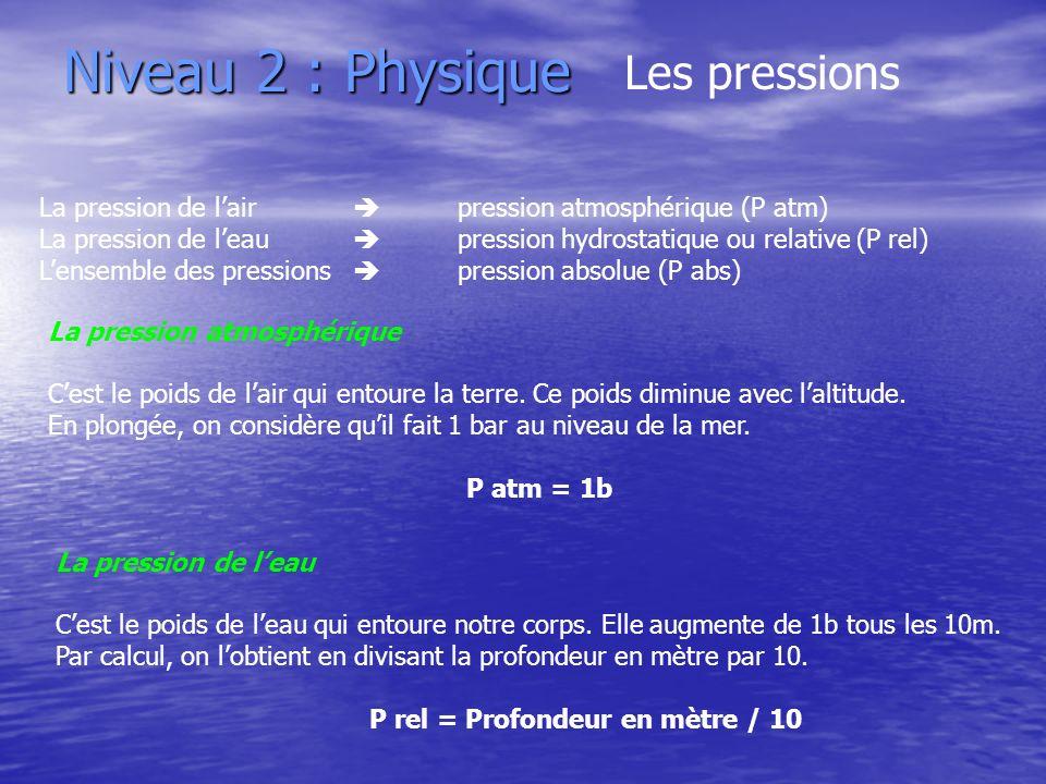 Niveau 2 : Physique Les pressions La pression de lair pression atmosphérique (P atm) La pression de leau pression hydrostatique ou relative (P rel) Le