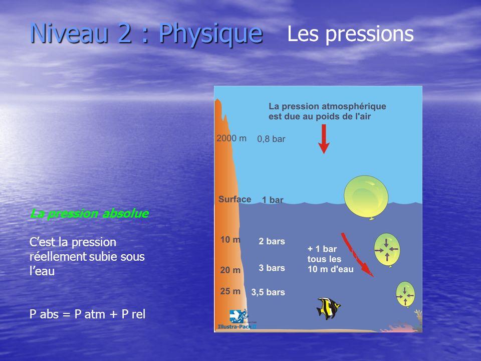 Niveau 2 : Physique Les pressions La pression absolue Cest la pression réellement subie sous leau P abs = P atm + P rel