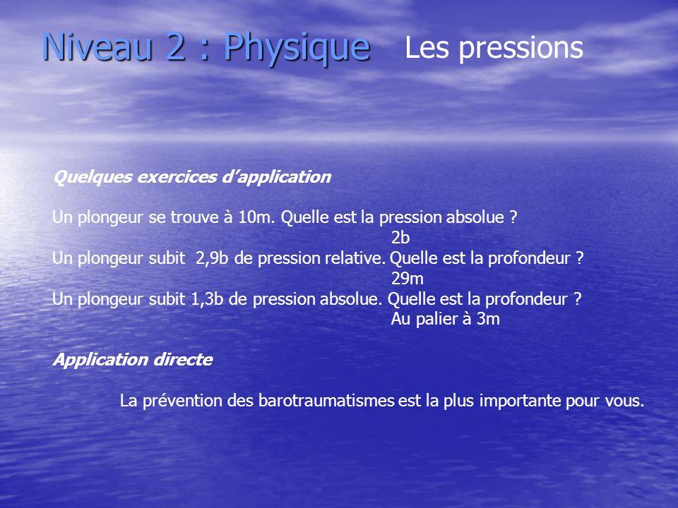 Niveau 2 : Physique Quelques exercices dapplication Un plongeur se trouve à 10m. Quelle est la pression absolue ? 2b Un plongeur subit 2,9b de pressio