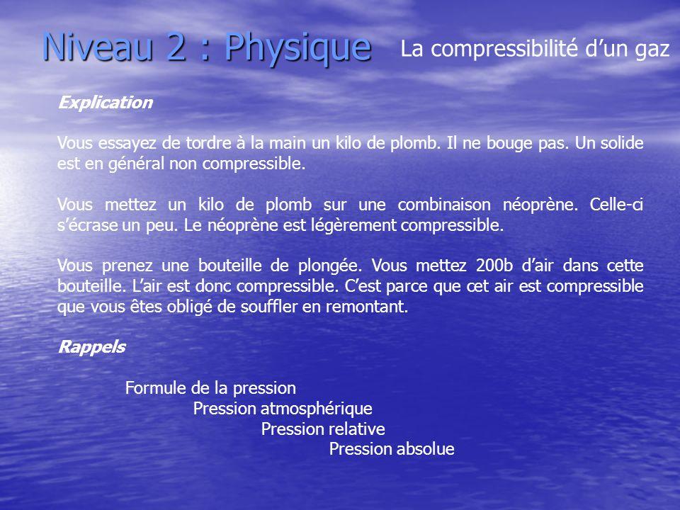 Niveau 2 : Physique La compressibilité dun gaz Explication Vous essayez de tordre à la main un kilo de plomb. Il ne bouge pas. Un solide est en généra
