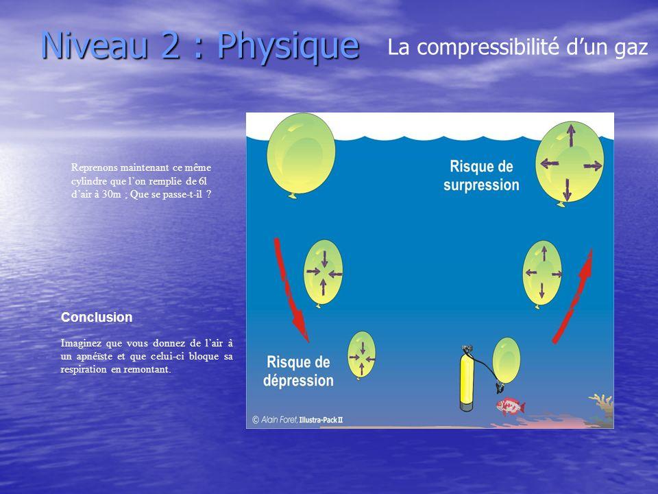 Niveau 2 : Physique La compressibilité dun gaz Reprenons maintenant ce même cylindre que lon remplie de 6l dair à 30m ; Que se passe-t-il ? Conclusion