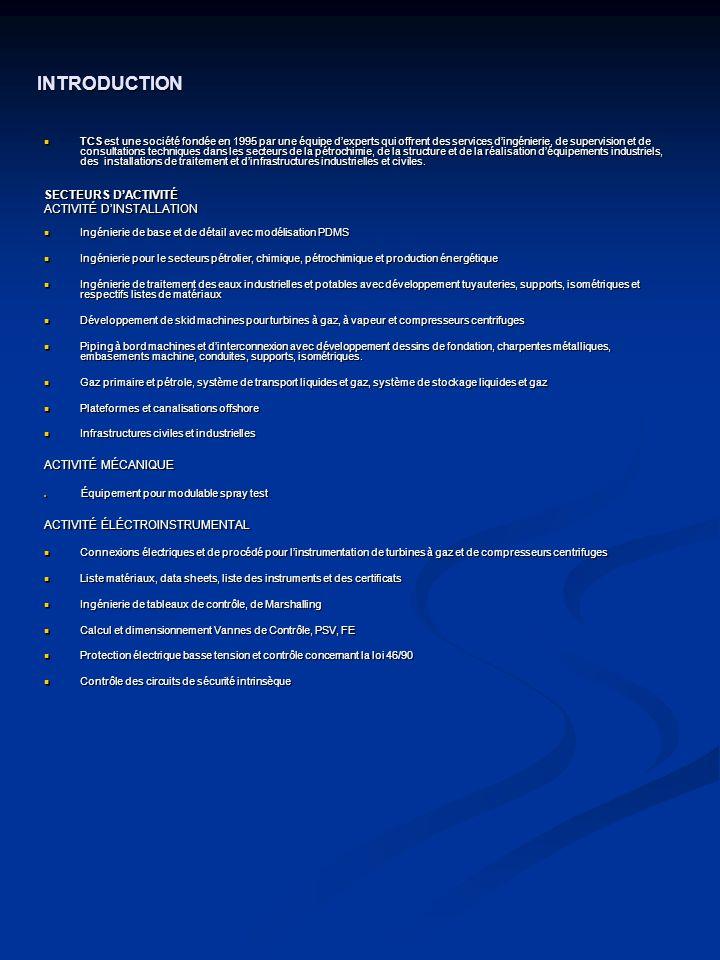 TCS peut offrir les services suivants: PROJECTATION DE CANALISATIONS PROJECTATION DE CANALISATIONS Les activités dingénierie fournies par TCS comprennent des études de faisabilité, le projet de base et de détail, lassistance et la supervision pendant les travaux de construction de canalisation et des installations relatives.