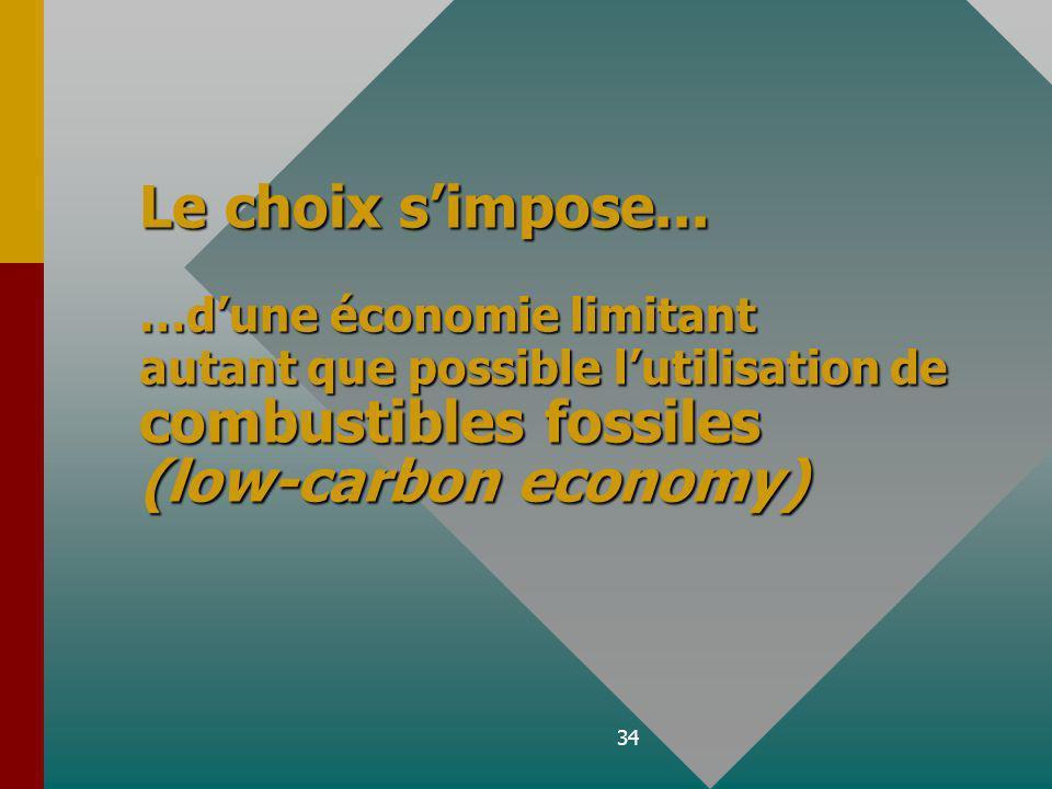 34 Le choix simpose... …dune économie limitant autant que possible lutilisation de combustibles fossiles (low-carbon economy)
