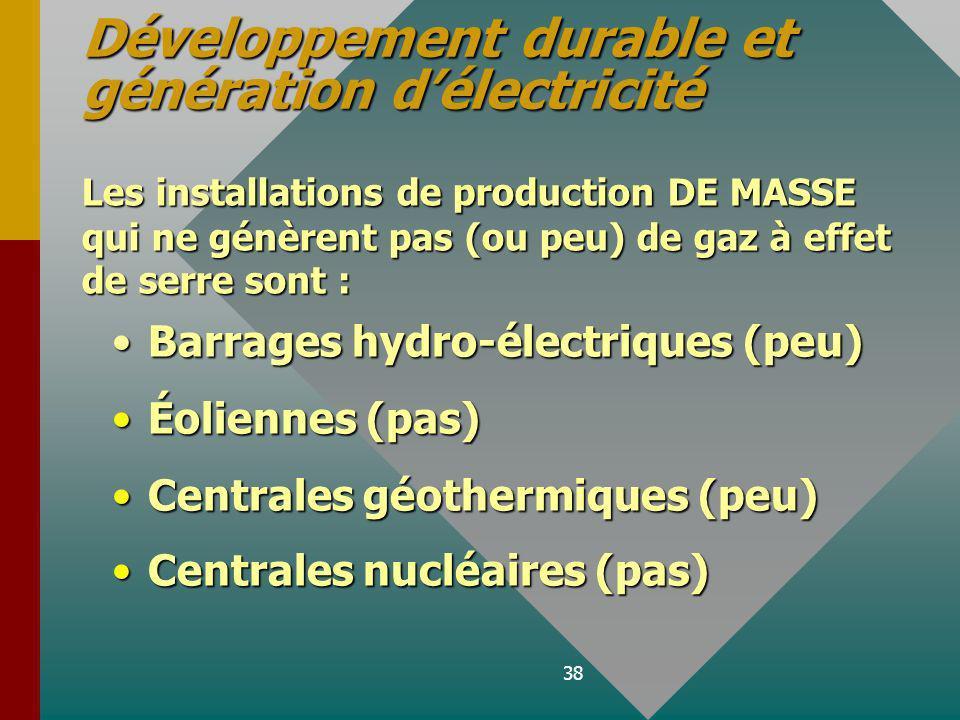 38 Barrages hydro-électriques (peu) Éoliennes (pas) Centrales géothermiques (peu) Centrales nucléaires (pas) Développement durable et génération délectricité Les installations de production DE MASSE qui ne génèrent pas (ou peu) de gaz à effet de serre sont :