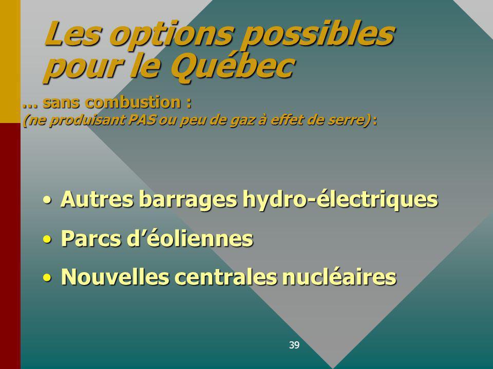 39 Autres barrages hydro-électriques Parcs déoliennes Nouvelles centrales nucléaires Les options possibles pour le Québec … sans combustion : (ne produisant PAS ou peu de gaz à effet de serre) :