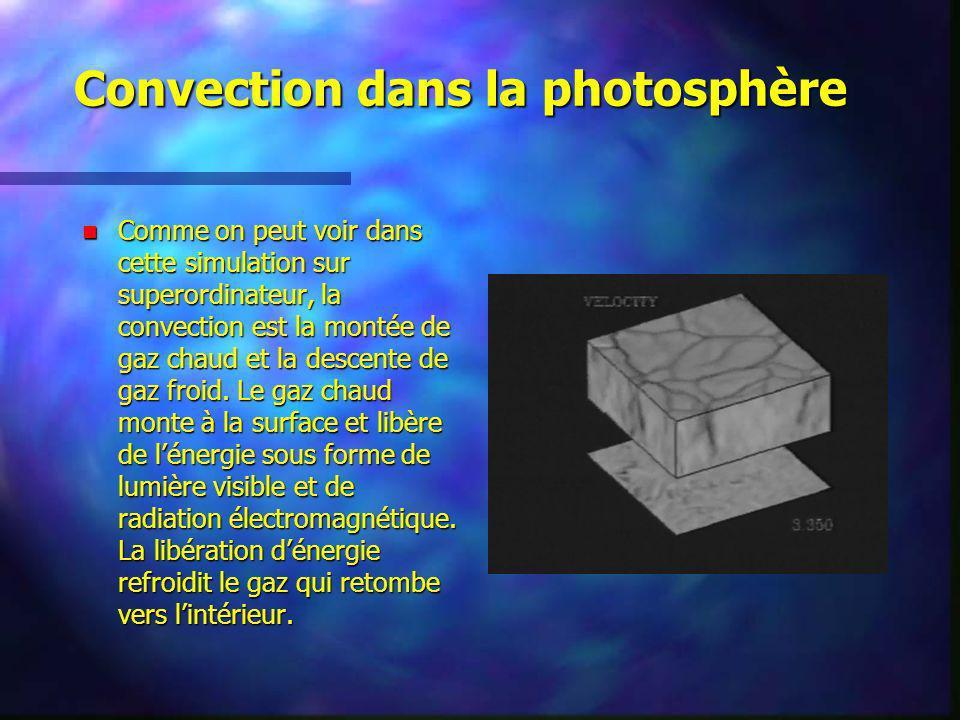 Convection dans la photosphère Comme on peut voir dans cette simulation sur superordinateur, la convection est la montée de gaz chaud et la descente d