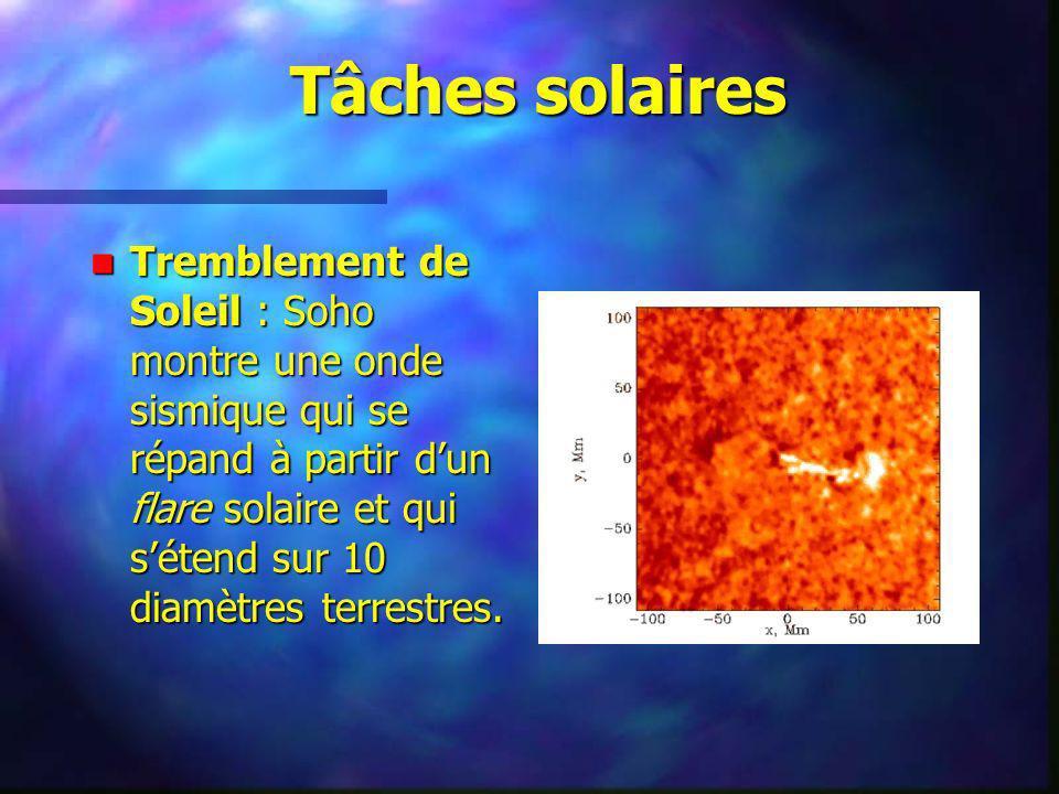 Tâches solaires Tremblement de Soleil : Soho montre une onde sismique qui se répand à partir dun flare solaire et qui sétend sur 10 diamètres terrestr