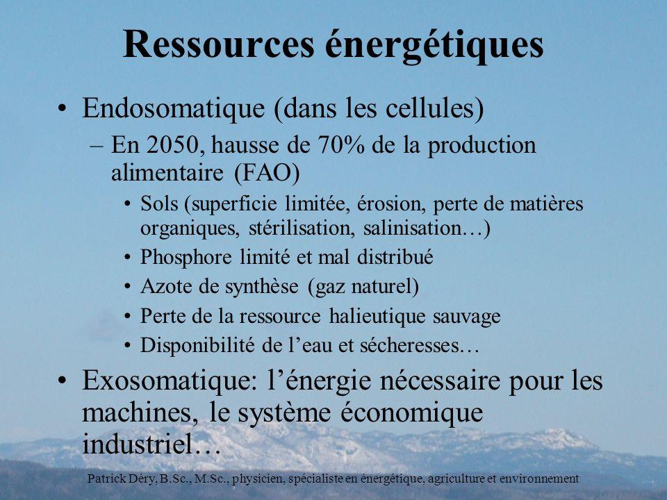 Patrick Déry, B.Sc., M.Sc., physicien, spécialiste en énergétique, agriculture et environnement Ressources énergétiques Endosomatique (dans les cellules) –En 2050, hausse de 70% de la production alimentaire (FAO) Sols (superficie limitée, érosion, perte de matières organiques, stérilisation, salinisation…) Phosphore limité et mal distribué Azote de synthèse (gaz naturel) Perte de la ressource halieutique sauvage Disponibilité de leau et sécheresses… Exosomatique: lénergie nécessaire pour les machines, le système économique industriel…