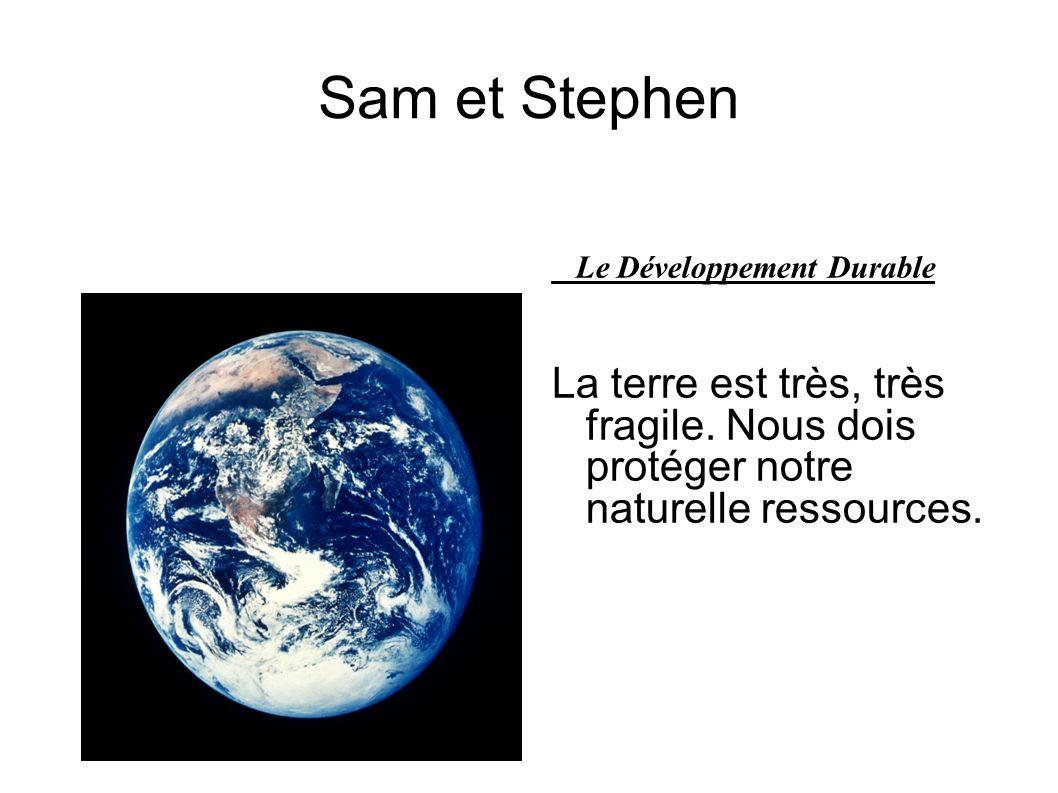 Sam et Stephen Le Développement Durable La terre est très, très fragile. Nous dois protéger notre naturelle ressources.