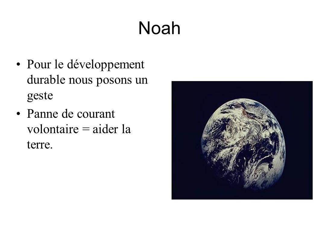 Noah Pour le développement durable nous posons un geste Panne de courant volontaire = aider la terre.