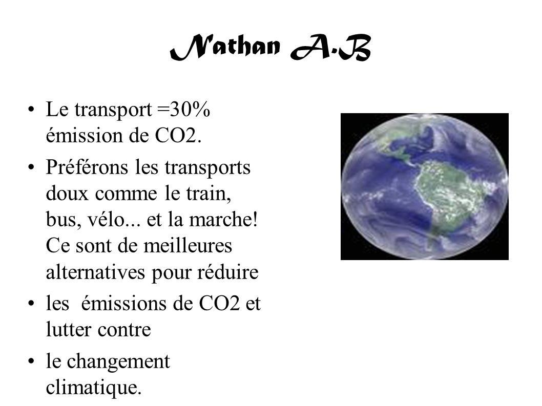 Nathan A.B Le transport =30% émission de CO2. Préférons les transports doux comme le train, bus, vélo... et la marche! Ce sont de meilleures alternati