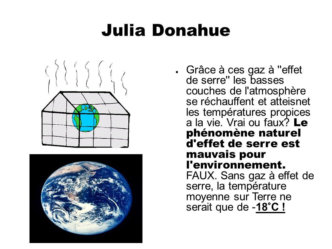 Julia Donahue Grâce à ces gaz à ''effet de serre'' les basses couches de l'atmosphère se réchauffent et atteisnet les températures propices a la vie.