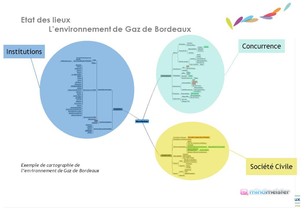 10 Etat des lieux Lenvironnement de Gaz de Bordeaux Exemple de cartographie de lenvironnement de Gaz de Bordeaux Institutions Concurrence Société Civile