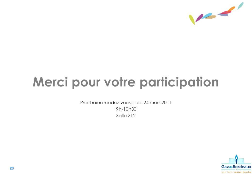 20 Merci pour votre participation Prochaine rendez-vous jeudi 24 mars 2011 9h-10h30 Salle 212