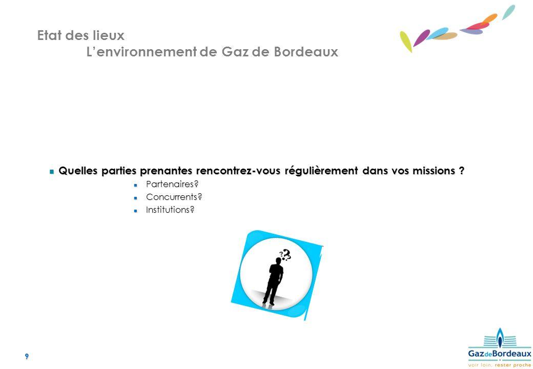 9 Etat des lieux Lenvironnement de Gaz de Bordeaux Quelles parties prenantes rencontrez-vous régulièrement dans vos missions .