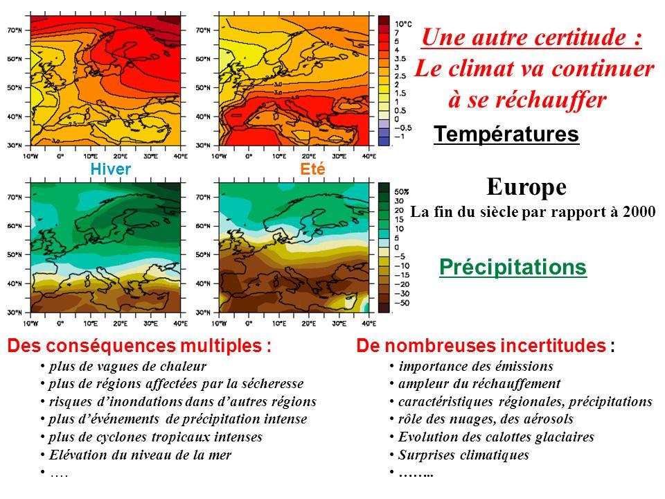Des conséquences multiples : plus de vagues de chaleur plus de régions affectées par la sécheresse risques dinondations dans dautres régions plus dévé