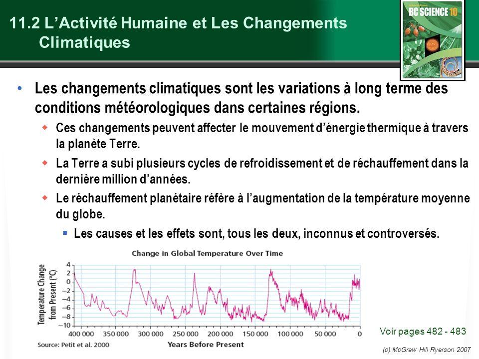 (c) McGraw Hill Ryerson 2007 11.2 LActivité Humaine et Les Changements Climatiques Les changements climatiques sont les variations à long terme des co
