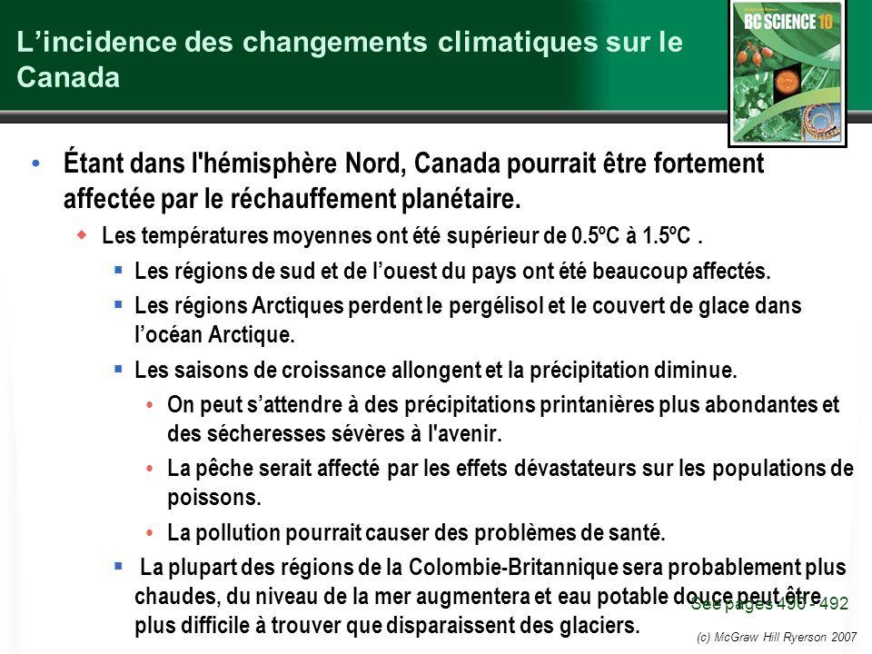 (c) McGraw Hill Ryerson 2007 Lincidence des changements climatiques sur le Canada Étant dans l'hémisphère Nord, Canada pourrait être fortement affecté