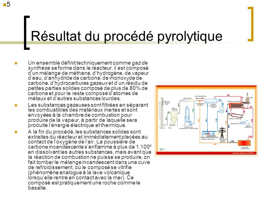 16 Gaz pyrolytique et biogaz Le premier tableau montre la composition des deux gaz à partir de laquelle on peut constater quils sont égaux, même sils présentent des pourcentages de poids différents entre les divers composants, à 95-96% Le deuxième tableau (en nm 3 est pour un débit annuel de 15.000 nm 3 ) montre la composition des fumées des deux gaz après leur combustion (analyse en complément du total de CO 2 ) à partir de laquelle on peut constater que le gaz pyrolytique est totalement en-dessous des valeurs admises contrairement à ce qui arrive pour le CO dans les fumées du biogaz