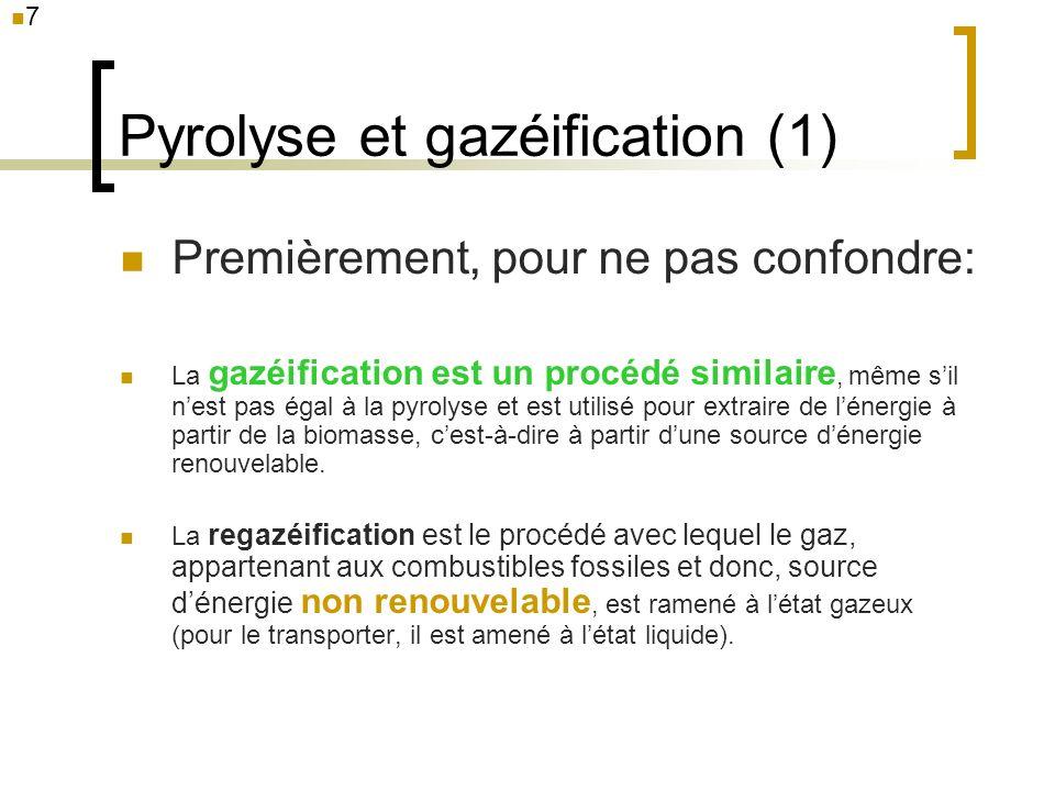 Pyrolyse et gazéification (2) La différence fondamentale entre la pyrolyse et la gazéification est lapport doxygène (ou vapeur deau).