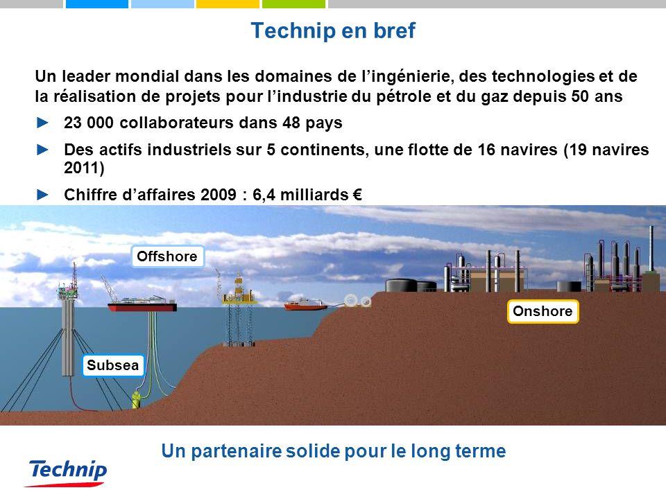 Technip en bref Un leader mondial dans les domaines de lingénierie, des technologies et de la réalisation de projets pour lindustrie du pétrole et du