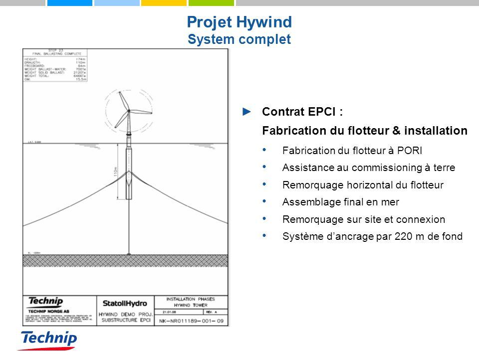 Projet Hywind System complet Contrat EPCI : Fabrication du flotteur & installation Fabrication du flotteur à PORI Assistance au commissioning à terre