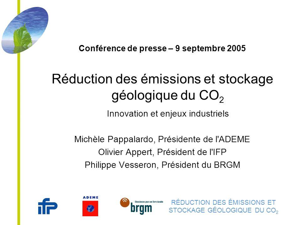 RÉDUCTION DES ÉMISSIONS ET STOCKAGE GÉOLOGIQUE DU CO 2 Conférence de presse – 9 septembre 2005 Réduction des émissions et stockage géologique du CO 2