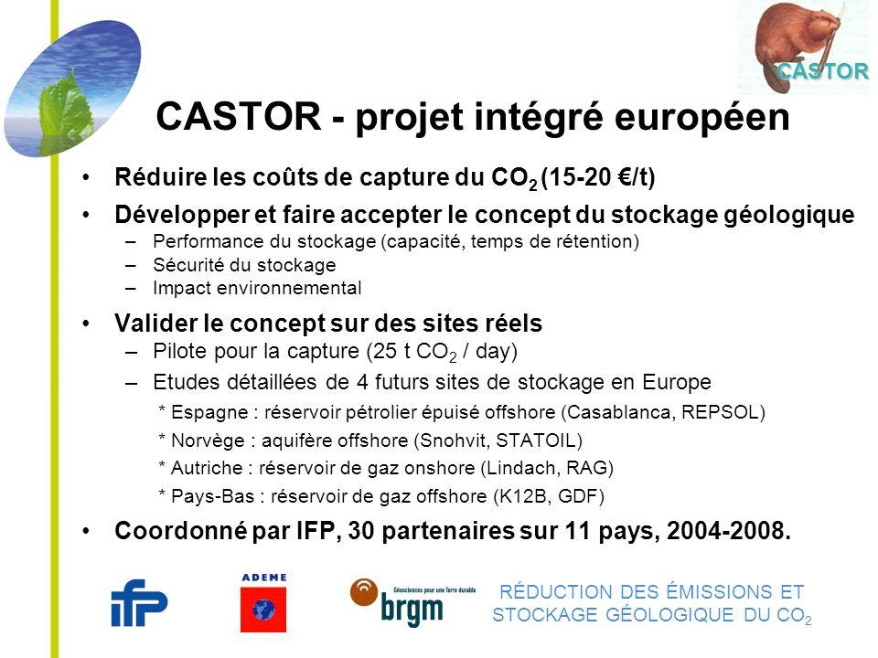 RÉDUCTION DES ÉMISSIONS ET STOCKAGE GÉOLOGIQUE DU CO 2 CASTOR - projet intégré européen Réduire les coûts de capture du CO 2 (15-20 /t) Développer et