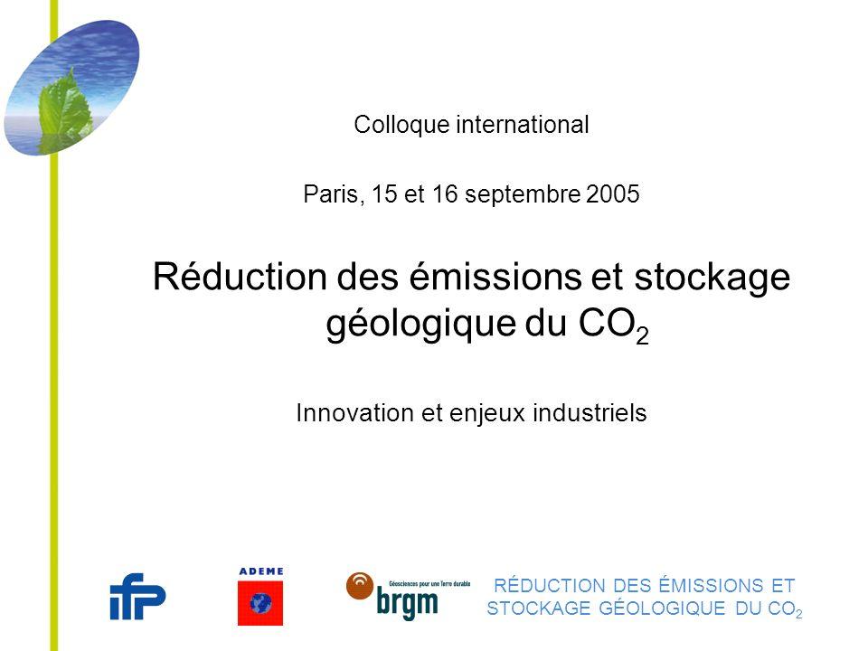 RÉDUCTION DES ÉMISSIONS ET STOCKAGE GÉOLOGIQUE DU CO 2 Colloque international Paris, 15 et 16 septembre 2005 Réduction des émissions et stockage géolo