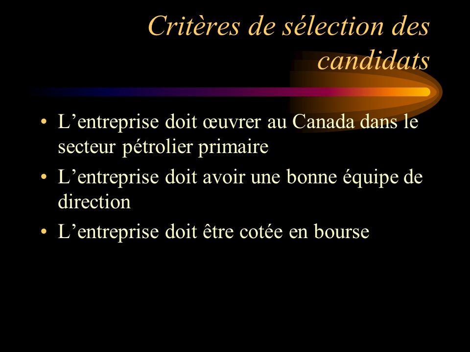 Critères de sélection des candidats Lentreprise doit œuvrer au Canada dans le secteur pétrolier primaire Lentreprise doit avoir une bonne équipe de di