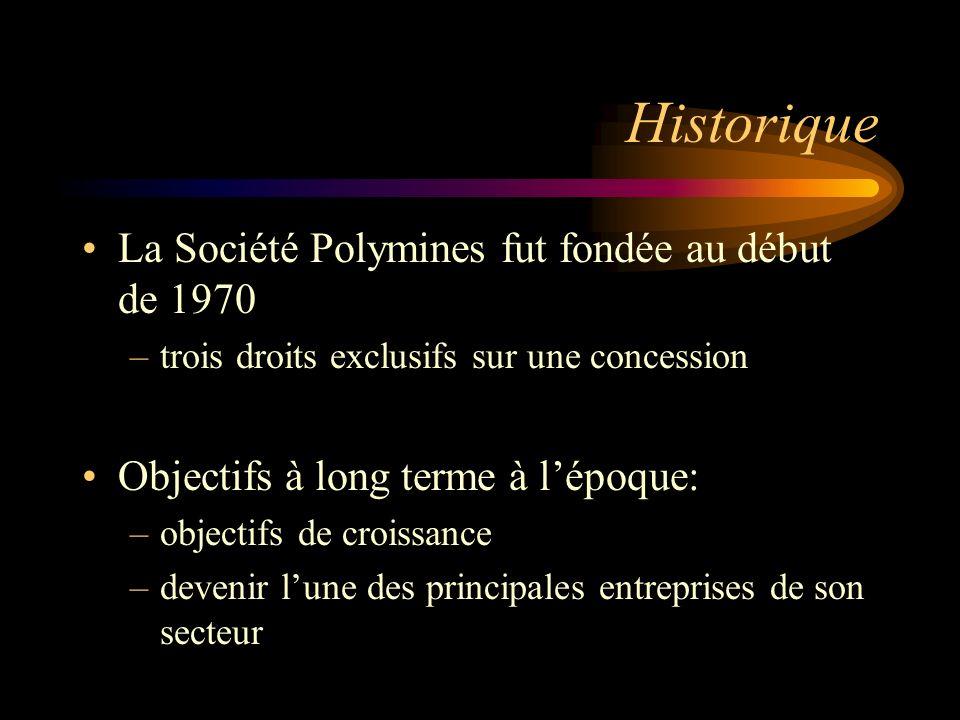 Historique La Société Polymines fut fondée au début de 1970 –trois droits exclusifs sur une concession Objectifs à long terme à lépoque: –objectifs de