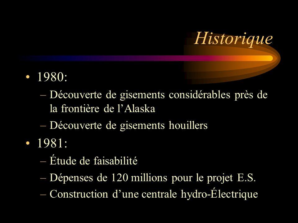 Historique 1980: –Découverte de gisements considérables près de la frontière de lAlaska –Découverte de gisements houillers 1981: –Étude de faisabilité