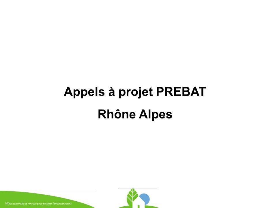 Appels à projet PREBAT Rhône Alpes