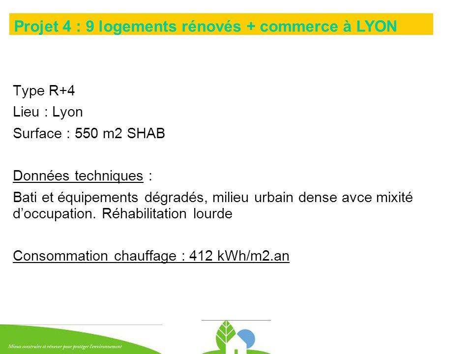 Type R+4 Lieu : Lyon Surface : 550 m2 SHAB Données techniques : Bati et équipements dégradés, milieu urbain dense avce mixité doccupation. Réhabilitat